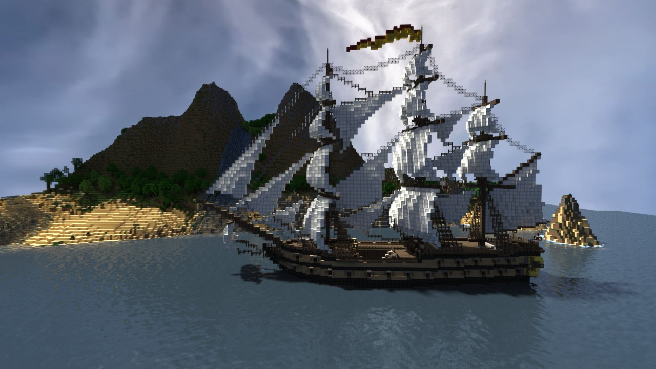 how to make a pirate ship sail minecraft