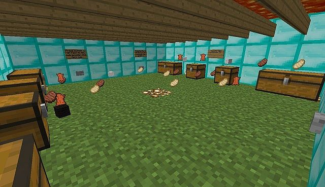 Inside of the pig, cow, mooshroom, and sheep farm