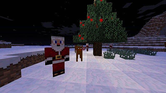 Santa, reindeer, and christmas tree made with tree decoration blocks
