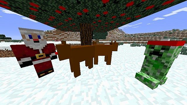 Santa, Santa Creeper, and Reindeer under a tree with tree decorations