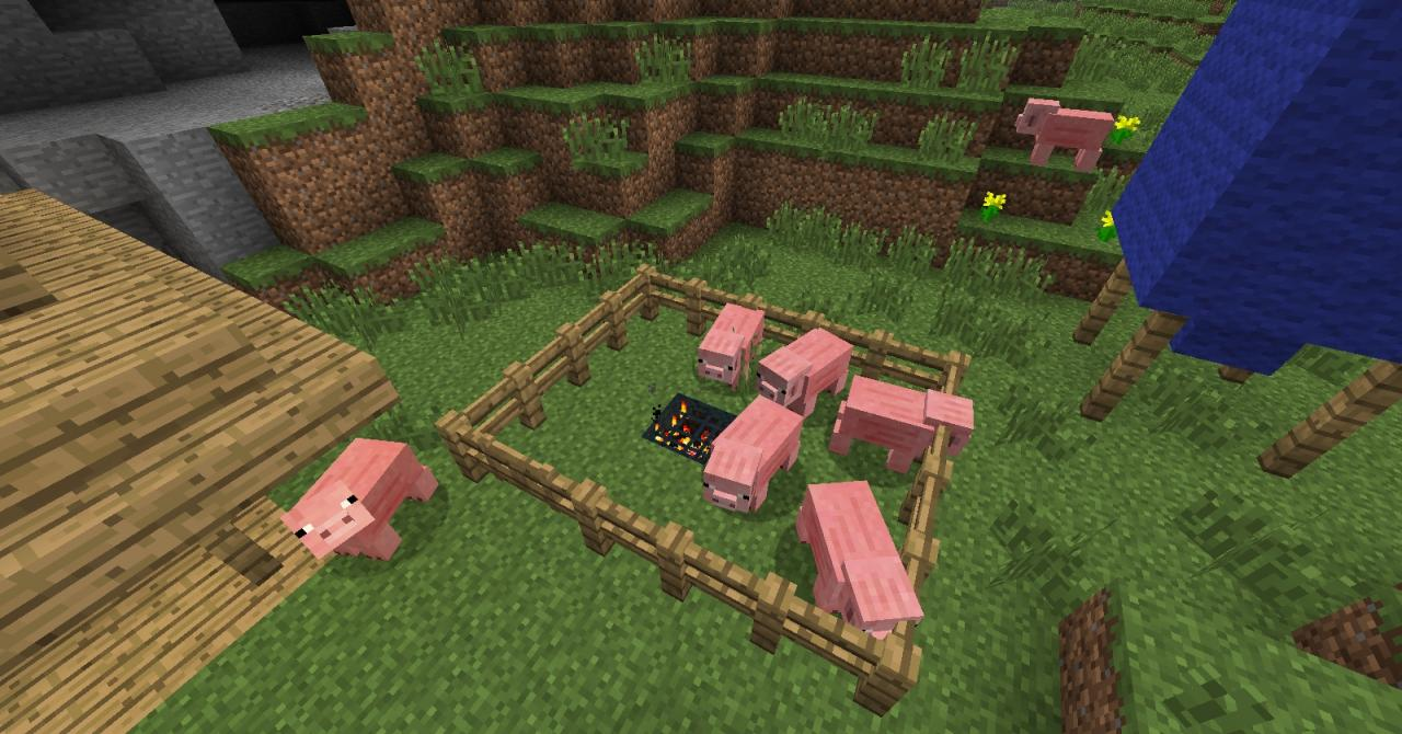 how to build a pig on minecraft