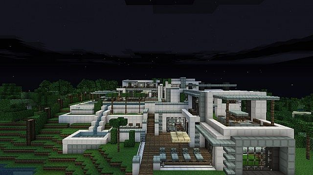 Modern Hillside Mansion Minecraft Project