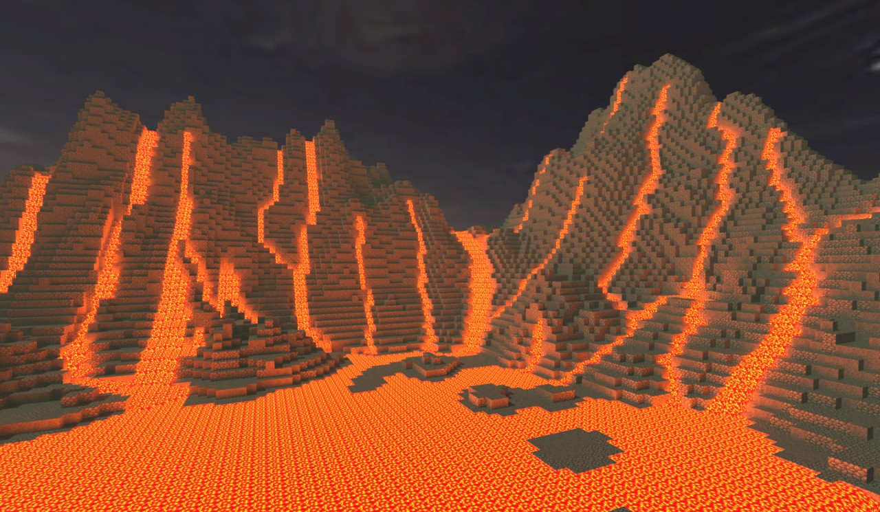 Lavafall wallpaper- a Chunky render Minecraft Project