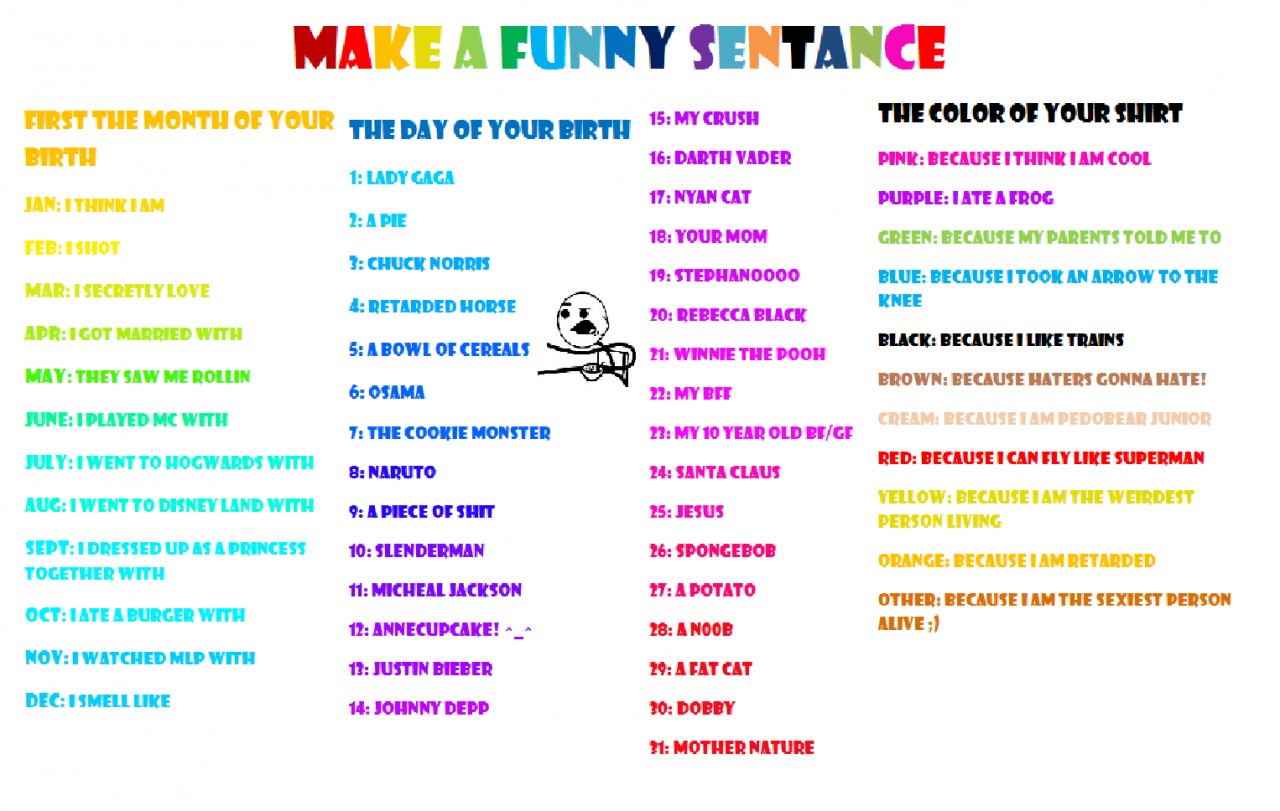 They saw me rollin: Make a funny sentance! Supa funneh :3