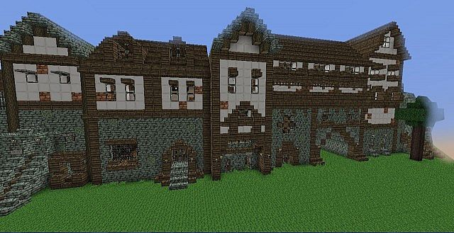 dense medieval street with back alley  (modelled after medieval drawings)