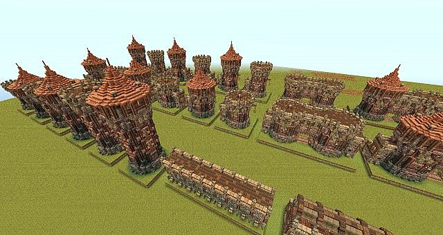 A view of some of the towers, gatehouses, and wall segments in this bundle.