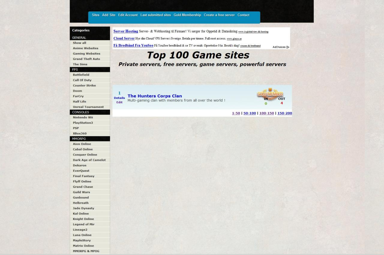 Server / Website listing Minecraft Blog