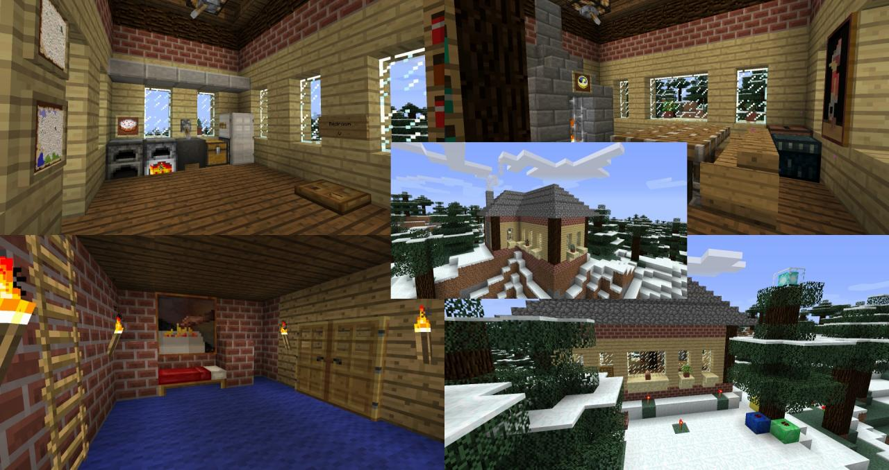 Minecraft Christmas Houses.Winter Christmas House Minecraft Project
