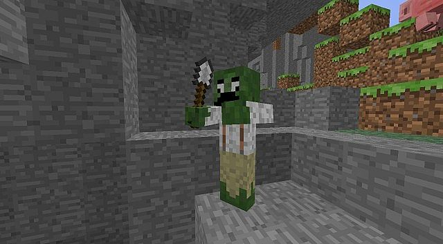 The only completely retextured mob (Zombie)