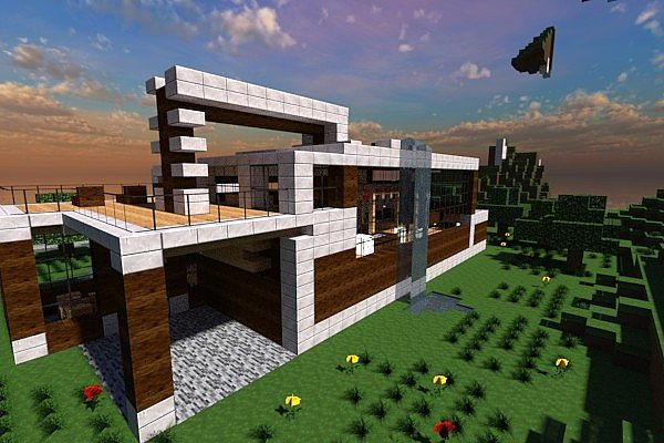 Casa moderna modern house contemp inc minecraft project for Casa moderna minecraft pe 0 10 5
