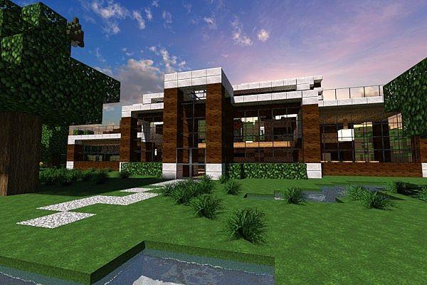 Casa moderna modern house contemp inc minecraft project for Tutorial casa moderna grande minecraft