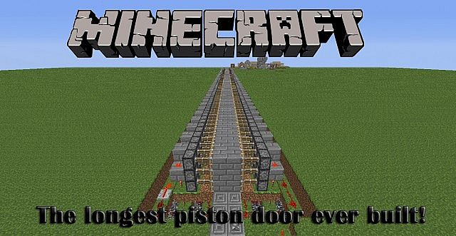 World Record! The longest piston door ever build! Minecraft Project