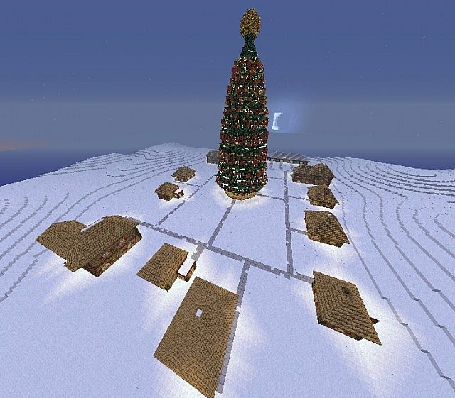 Minecraft Christmas Houses.Christmas Village Santas Home With Hughe Christmas Tree