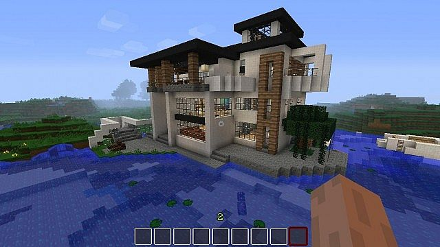 Modern House By The Sea Boat Minecraft Project
