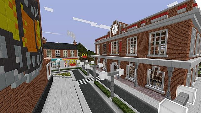 Town with Train Station. Laundrette and McDonalds in background.