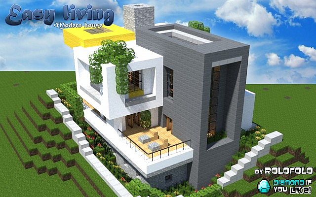 Modern easy living home at wok minecraft project for Simple and modern house