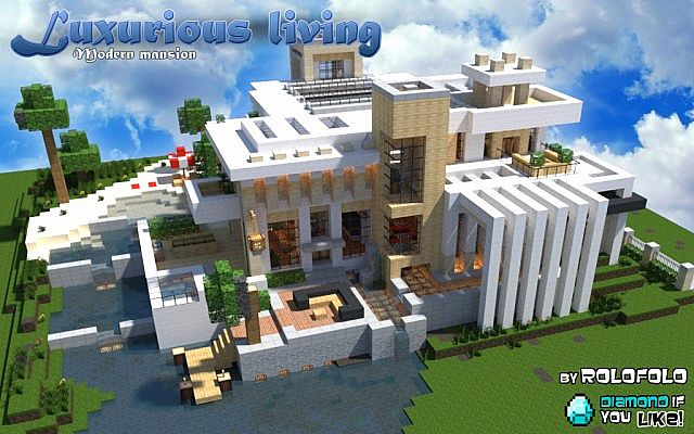 Modern luxurious living mansion at 39 wok 39 and 39 minecraft for Big modern houses on minecraft