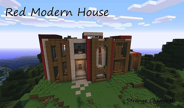 Red Modern House World Save Schematic Minecraft Project