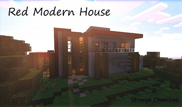 Red Modern House World Save Schematic Minecraft Project - Minecraft moderne hauser bilder