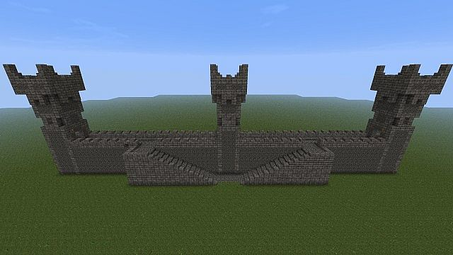 Castle Wall W Towers And Battlements Minecraft Project