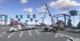 1.75:1 Scale  Liebherr LTM 1200 Mobile Truck Cranes and Peterbilt 389 Heavy Haul Truck Minecraft Map & Project