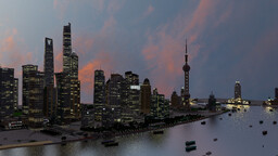 "(GN)""The Manhattan of China""---shanghai lujiazui financial district 1:2scale Minecraft Map & Project"