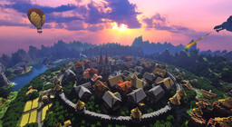 Update 2014 Map: Medieval City San Torressino getting attacked by Night Dragon Minecraft Map & Project