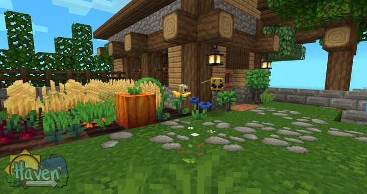 Saplings have 2 growth stages. Double mossy cobble slabs appear as stepping stones.