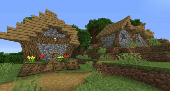 A warped village... It's a miracle those doors can still open!