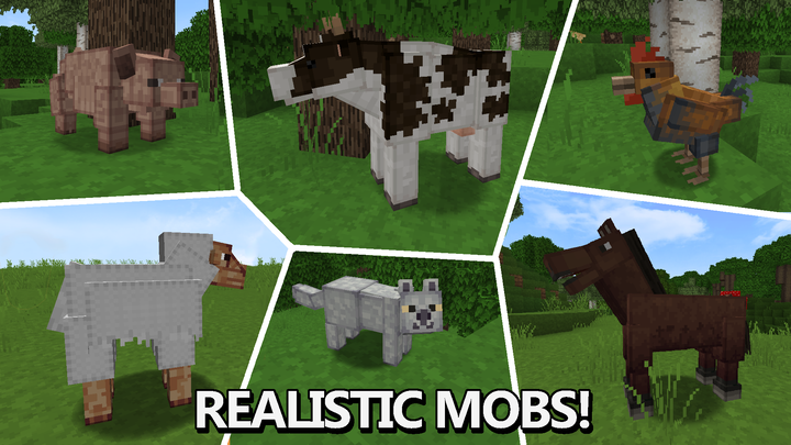 This Resource Pack also changes the model for many Mobs!