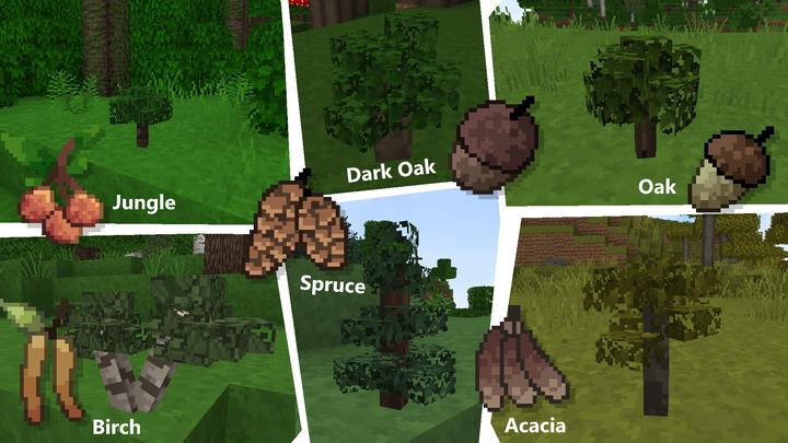 Saplings have a unique item sprite and 3D block model.