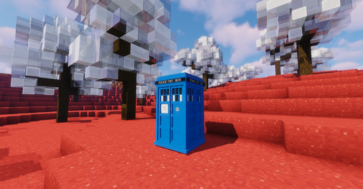 a 3D modeled TARDIS exterior, which you can get by using the TARDIS resource pack!