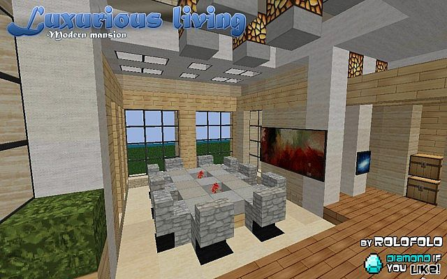 modern luxurious living mansion at wok and minecraft