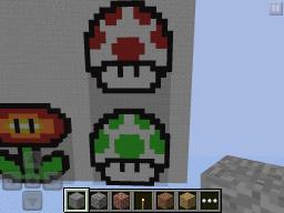 Mario Mushroom Pixel Art Minecraft Map & Project