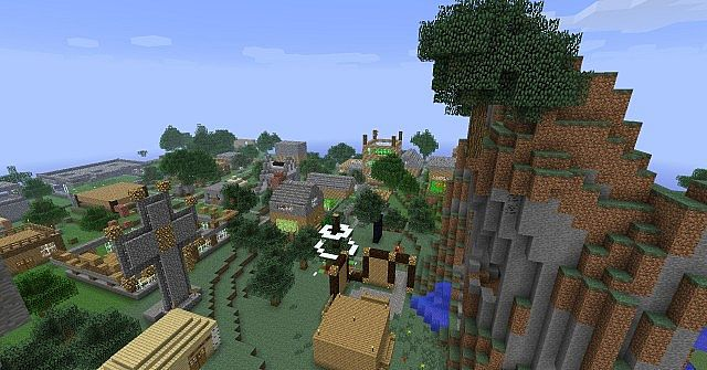 An oblique aerial view of the new spawn village