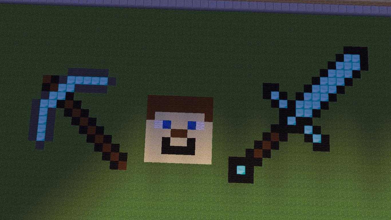 Pixel art compilation [Basic, daimond pick. Steve head,daimond sword] Minecraft