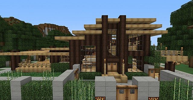 Modern Wood House Minecraft City Minecraft Project