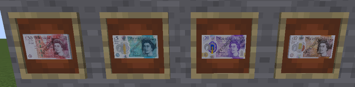 British Pound Notes 50, 5, 20, and 10
