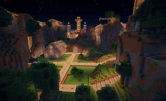Night in Arcadia 3, an archived city being rebuild from blueprints.