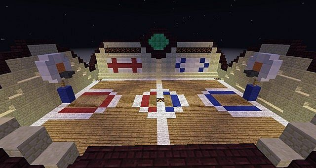 Basketball court w scoreboard and teams minecraft project for How to build a basketball court at home