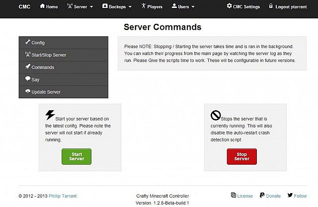 Server Commands Interface