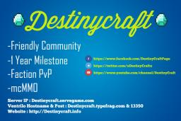 ╔►DestinyCraft 1.6.2 ツ◄╗ Awesome Survival ✯ PvP ✯ Grief ✯ Raiding ✯ Spleef ✯ MobArena ✯ Friendly ✯ 24/7 ✯ Shop ✯ Mcmmo ✯ Minecraft Server