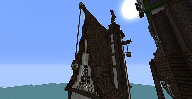 Medieval House And Airship Minecraft Project