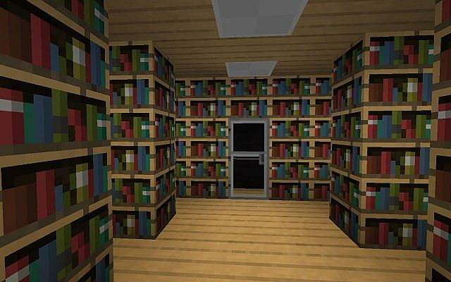 Library leading to safe room
