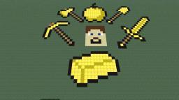 Pixel art compilation [Basic, every gold tool steve head golden ingot en golden apple] Minecraft