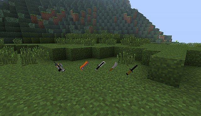 Bow, Diamond Sword, Iron Sword, Stone Sword, Wooden Sword.