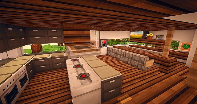 Serenity modern home by velstorm minecraft project for Kitchen ideas minecraft