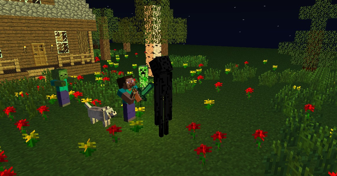 Steve And Mobs At Night Minecraft Project