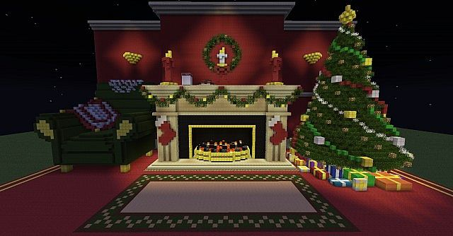 Christmas Fireplace Scene Christmas Tree Minecraft Project