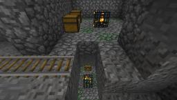 Double dungeon under small lone island with over 230 block long abandoned mine shaft. Minecraft Map & Project